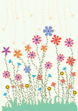 amazing wallpaper: Colorful fiori Land Card Vettoriali