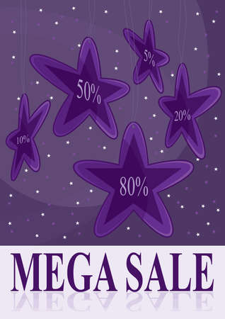 Hang stars, sale poster   Vector