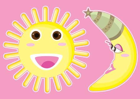 amazing wallpaper: Sole felice e la luna Vettoriali