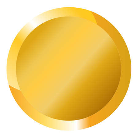 Blank gold coin on white background. Vector shiny round blank template for medals, buttons, gold labels, game icons