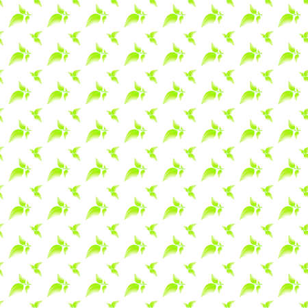 Green leaves seamless pattern, sunny plants isolated on white background. Simple texture for natural products, eco environment, tea wrapping paper, healthy food. Vector illustration