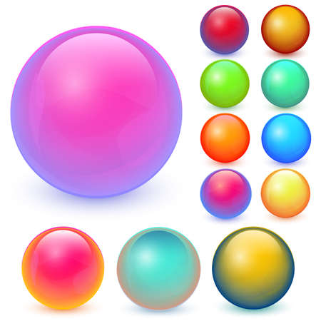 Balls vector set. Collection of colorful balls with shadow. Glossy spheres set isolated on white background.