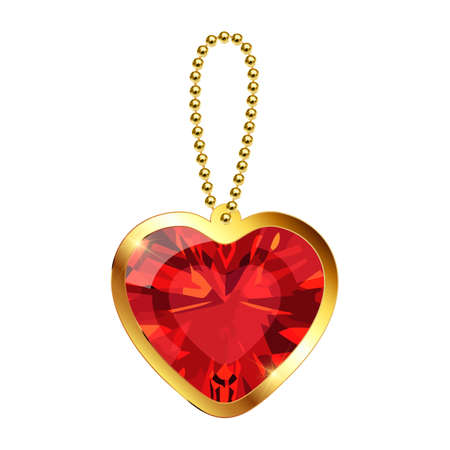 Beautiful keychain with heart pendant on a gold chain. Red ruby gemstone in gold setting isolated on white background. Golden necklace or bracelet. Decoration for women. Vector illustration EPS10