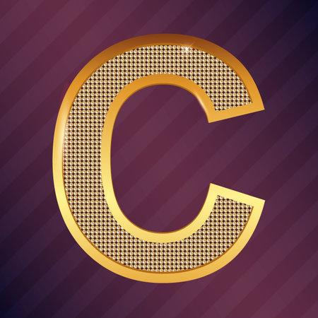 Vector golden letter C metallic icon or logo
