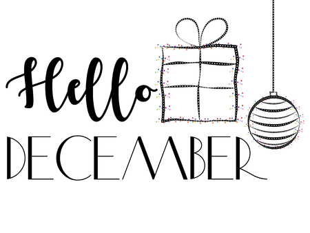 Black and white vector banner design with black Hello December lettering and isolated decorative gift and Christmas bauble with colourful confetti and geometric elements on white background