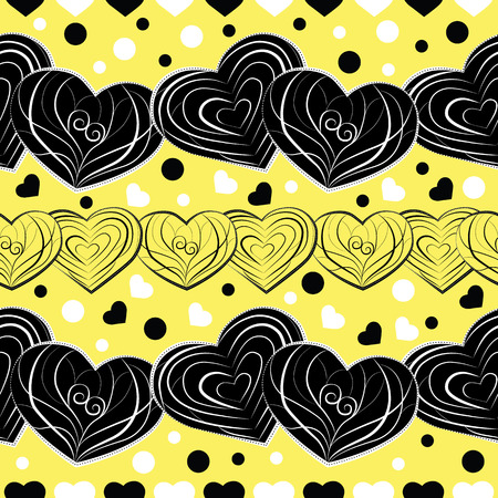 Vector design of seamless pattern with black, white and yellow ornamental swaying love hearts and polka dots on vibrant yellow background; perfect for Valentines Day