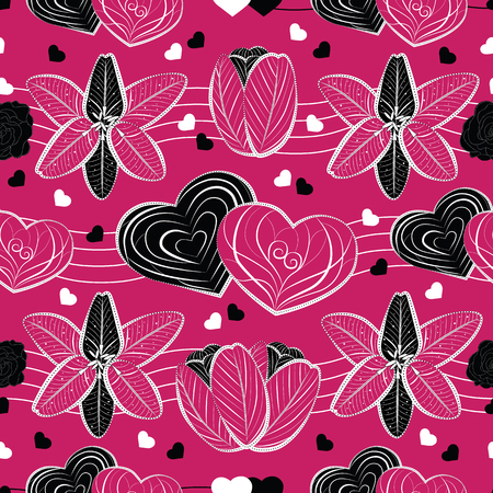 Vector design of seamless pattern with black, white and pink ornamental swaying love hearts, lily, tulip and rose flowers on vibrant pink background; perfect for Valentines Day Иллюстрация