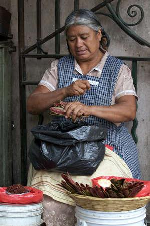 oaxaca: Oaxaca, Mexico-December 2009: Woman vendor bagging chillies.