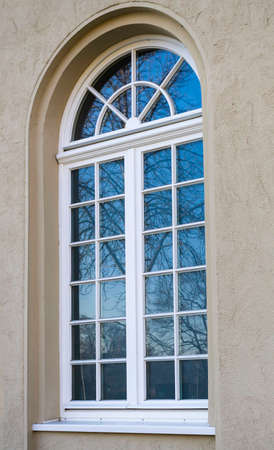 north window arch: Arched window Stock Photo