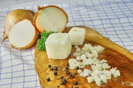 diced: diced onions Stock Photo