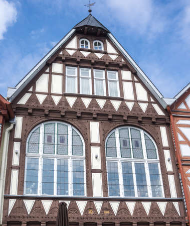 Front of a wonderful old half-timbered house in a village in Fritzlar in Germany near Kassel in Hesse