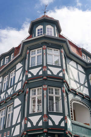 windowpanes: Front of a wonderful old half-timbered house in a village in Fritzlar in Germany near Kassel in Hesse
