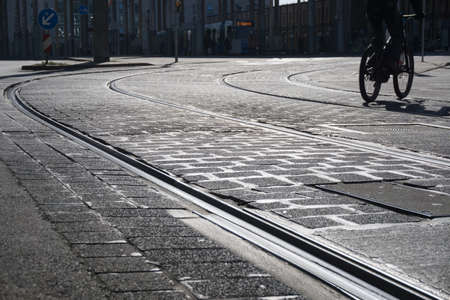 dejected: streetcar rails with cobbles - ground-up