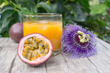 passion fruit flower: Fresh passionfruit juice with sliced ??fruit blossom and