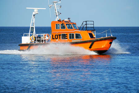 Pilot boat driving at high speed Stock Photo