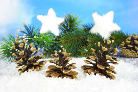 Three pine cones in the snow with a pine branch and two stars from snow in the background, narrow depth of field