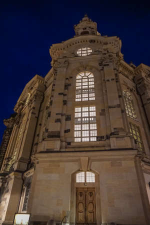 lutheran: Church of Our Lady in Dresden, Germany, at night Editorial
