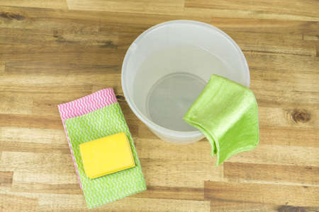 Spring cleaning, bucket, sponge and cleaning rag