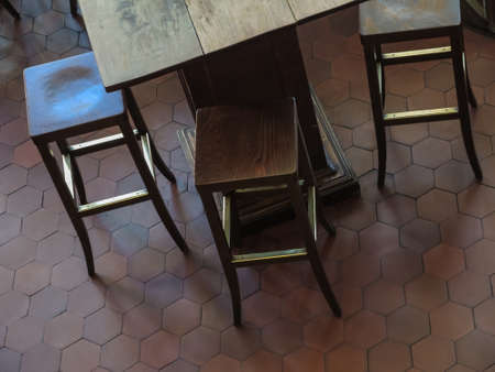 barstool and table, view from above Standard-Bild - 111953312