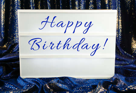 Light box with the words happy birthday Stock Photo