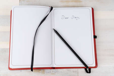 Diary with a black pen, copy space and the words Dear Diary