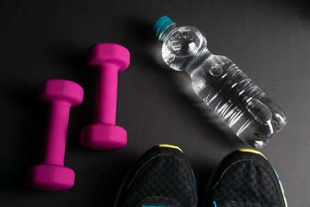 Two pink dumbbells and shoe tips of sneakers with a bottle of water, black background Reklamní fotografie