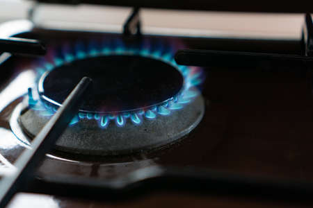 Gas flame at a gas stove Stock Photo