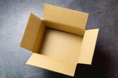 Opened cardboard box, view from above Zdjęcie Seryjne