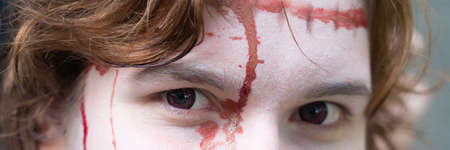 Banner of the eyes of young woman with blood in her face Imagens