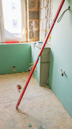 Construction of a new bathroom Imagens