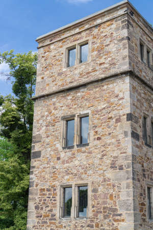 Old tower at the Rondell on the bank of the river Fulda in Kassel, Germany