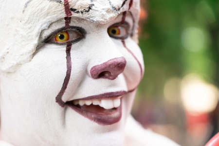 White make-up face of a laughing clown Banco de Imagens