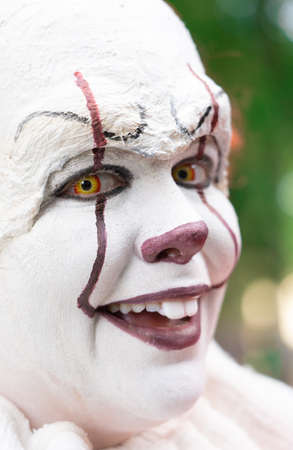 White make-up face of a laughing clown Imagens