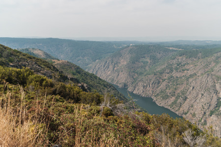 View of the Sil river canyon (ribeira sacra) from the viewpoint of the balconies of Madrid in Parada do Sil, Ourense (Spain).