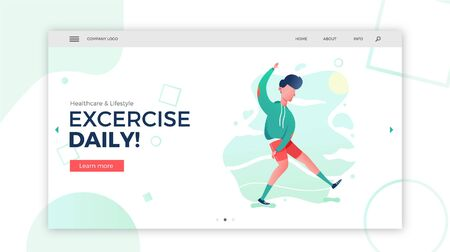 Man exercising and stretching web banner