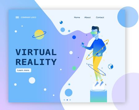 Man in space wearing virtual reality headset web banner template