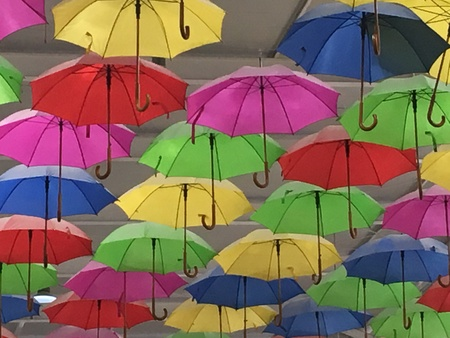Roof with colorful umbrella Stock fotó