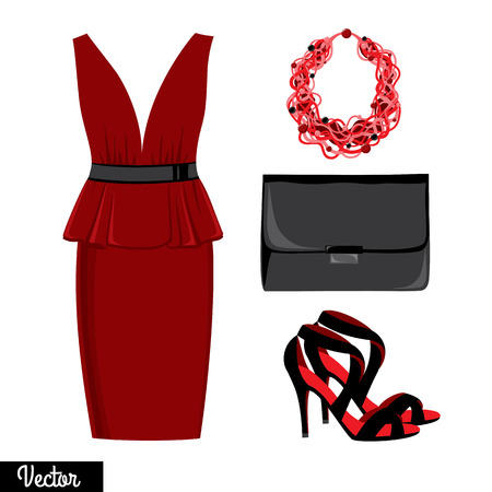 cleavage: Illustration stylish and trendy clothing. Evening dress, clutch bag, accessories, high-heeled shoes, sandals. Illustration
