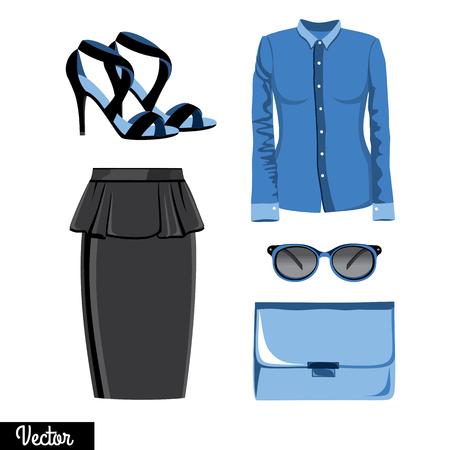 leather skirt: Illustration stylish and trendy clothing. Leather skirt, blouse, shirt, bag, sunglasses, high-heeled shoes, sandals.