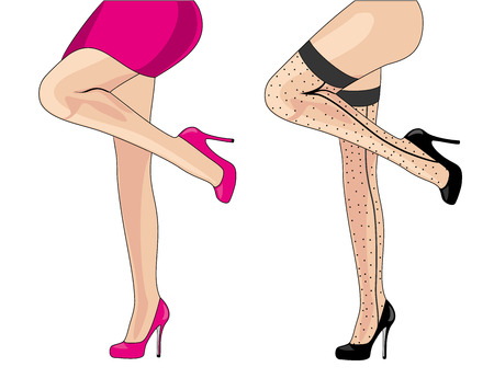 Beautiful women legs wearing high-heeled shoes illustration.