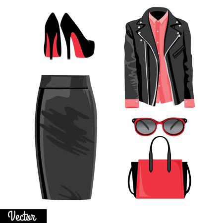 leather bag: Illustration stylish and trendy clothing. Leather skirt, blouse, shirt, bag, high-heeled shoes. Illustration