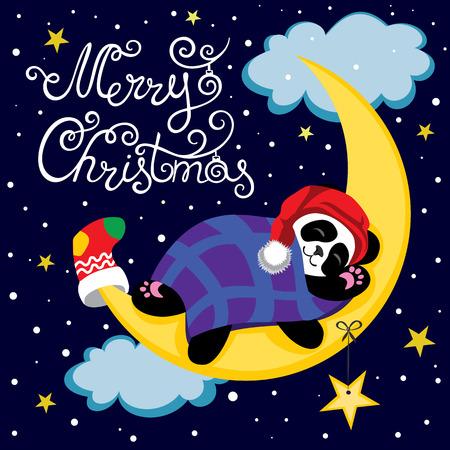 Panda duerme en la luna. Panda está en el cielo estrellado. Ilustración del vector de la historieta de la panda. ilustración vectorial letras de la caligrafía para la decoración. Ilustración del vector para la tarjeta de felicitación, carteles.