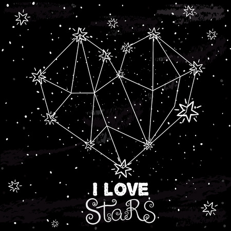 starlit: Starlit heart on the dark night sky with stars. Vector background for valentines card, love poster and wedding, greeting, invitation cards.Constellation in the form of heart.