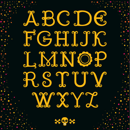 """Vintage decorative handcrafted font named """"Dia de los Muertos"""". Hand drawn font for your business, greetings cards, poster, a party"""