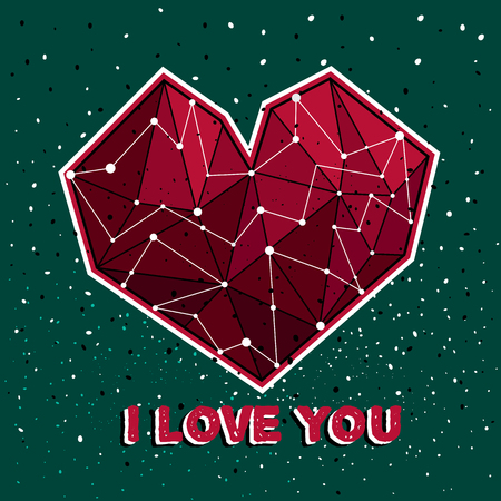 starlit: Abstract polygonal heart on the dark background. Vector background for valentines card, love poster and wedding, greeting, invitation cards, low poly banners. Illustration