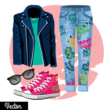 casual fashion: llustration stylish and trendy clothing. Hipsters and casual fashion vector Illustration