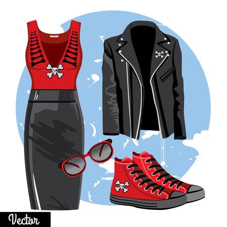 Illustratie stijlvolle en trendy kleding met schedel. Lederen rok, singlet, zonnebril, sneakers. Gotic en casual mode vectorIllustratie