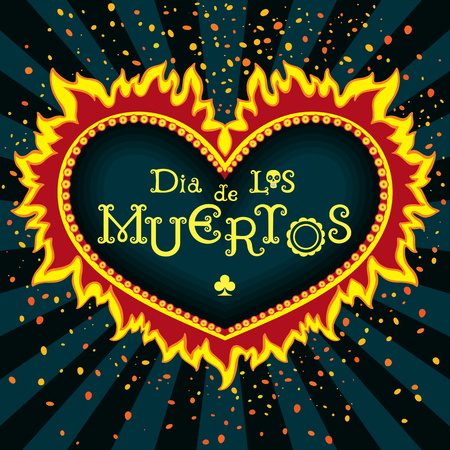 dea: Invitation poster to the Day of the dead party. Dea de los muertos card. Print - mexican heart, day of the dead poster