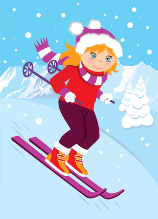 active lifestyle: Skiing in the background of mountains. Cartoon girl in winter clothes for sports. Active lifestyle, health Illustration