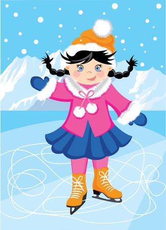 Abbildung im Hintergrund der Berge Skaten. Cartoon Mädchen in Winterkleidung für den Sport.